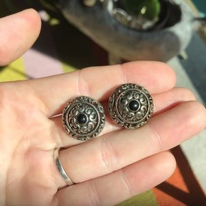 Boho vintage statement studded silver earrings